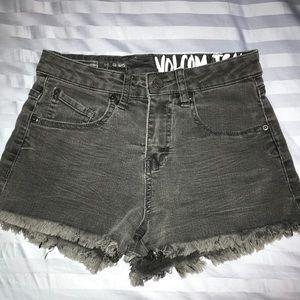 Black Volcolm high waisted stretchy denim shorts
